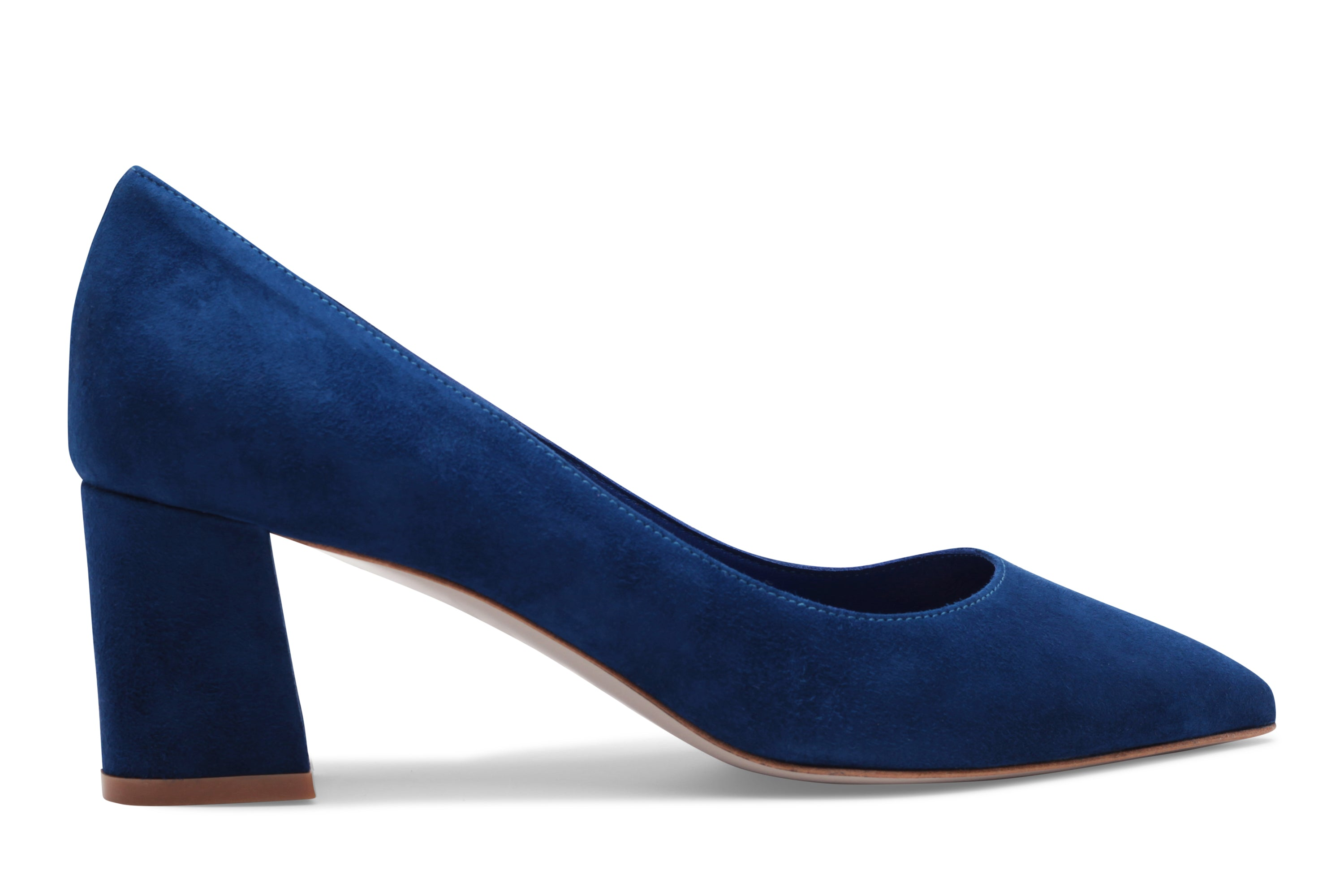 Blue suede block heel
