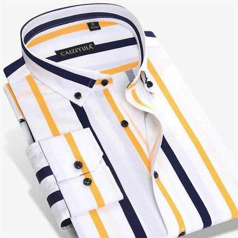 New Designer Contrast Multi-Striped Casual Shirts Slim Fit Button-Down