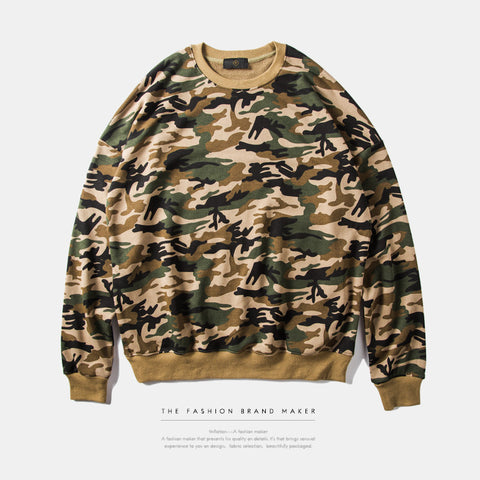 Men - O Neck Hip-Hop Camouflage Sweatshirt - God Republic