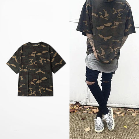 Men Camouflage Oversized Hip-Hop Tee - God Republic