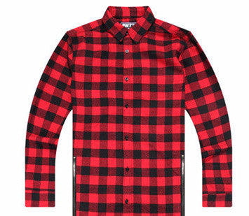 Men Side Zipper Flannel Hip-Hop Shirt