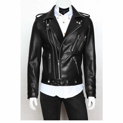 Biker Leather Jacket PU Zipper Jacket - God Republic