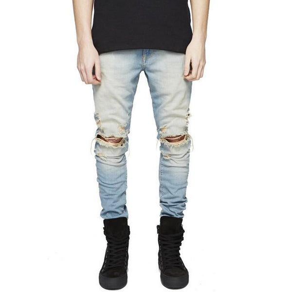 Knee Frayed Designer Biker Ripped Denim Jeans