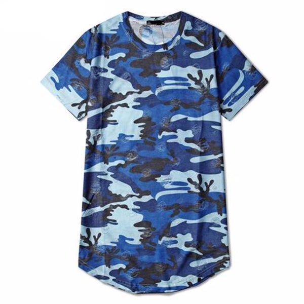 Men Longline Curved Hem Hip-Hop Tee