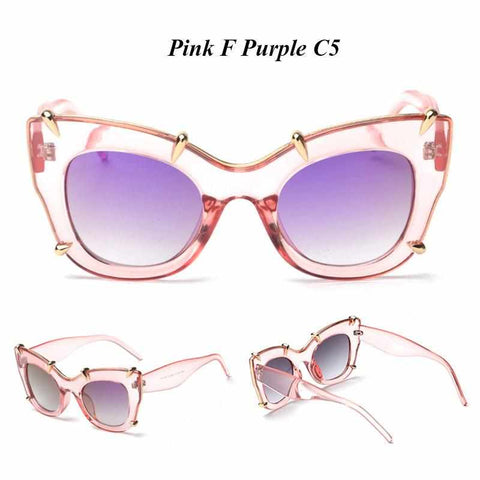 Cat Eye Spike Glasses Sunglasses Luxury Brand Women UV400