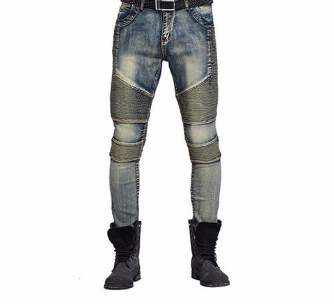 Knee Frayed Casual Biker Ripped Denim Skinny Jeans - God Republic