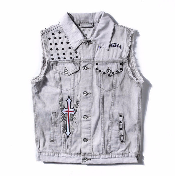 Metallic Rivet Embroided Sleeveless Denim Jacket