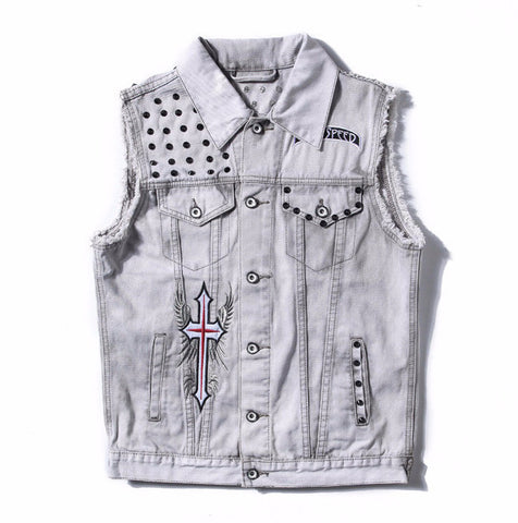 Metallic Rivet Embroided Sleeveless Denim Jacket - God Republic