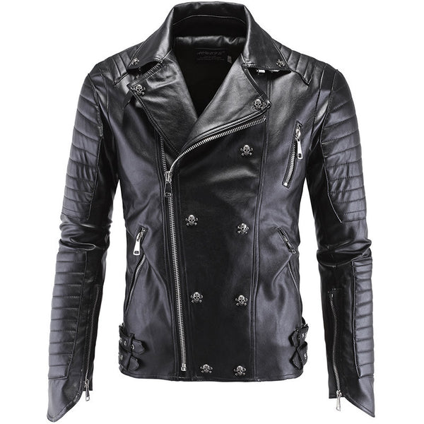 Double Breasted Leather Skinny Biker Jacket