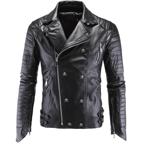 Double Breasted Leather Skinny Biker Jacket - God Republic