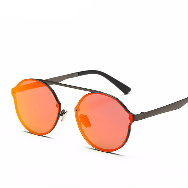 Unique Frame Round Half-Frame Sunglasses UV400