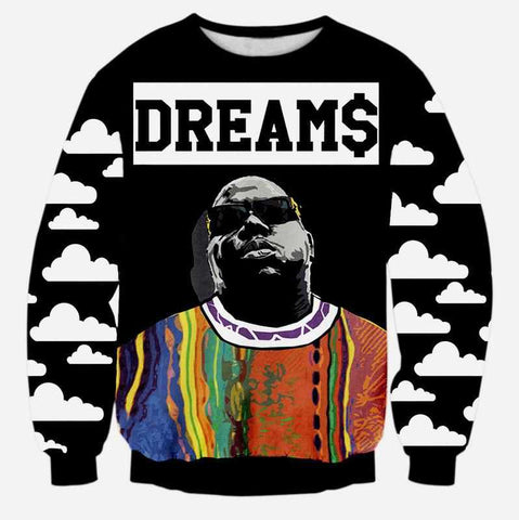 """Biggie Smalls DREAMS"" Crewneck Hip-Hop Sweatshirt - God Republic"