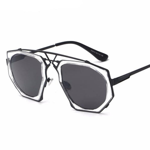 Unique Frame Round Oversized Sunglasses UV400
