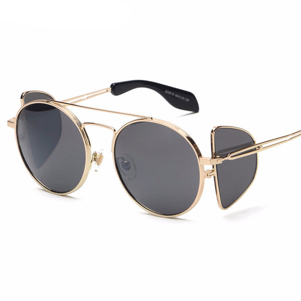 Unique Frame Gothic Round Sunglasses - UV400