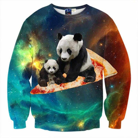 """Pizza Panda"" Crewneck Hip-Hop Sweatshirt - God Republic"
