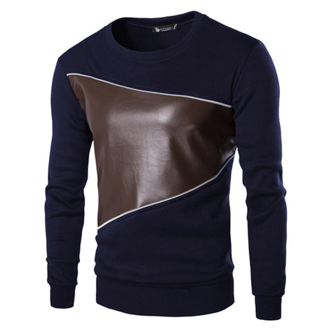 Men PU Slim Fit Sweatshirt