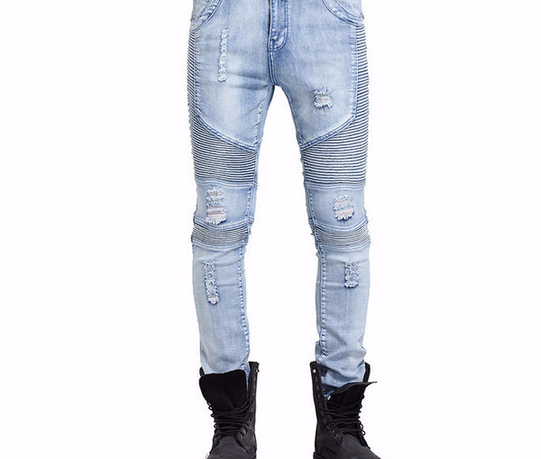 Knee Frayed Casual Biker Ripped Denim Skinny Jeans