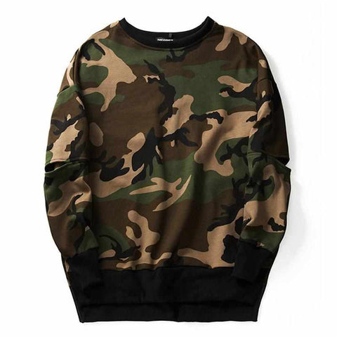 Camouflage Long Sleeve Round Neck Sweatshirt - God Republic
