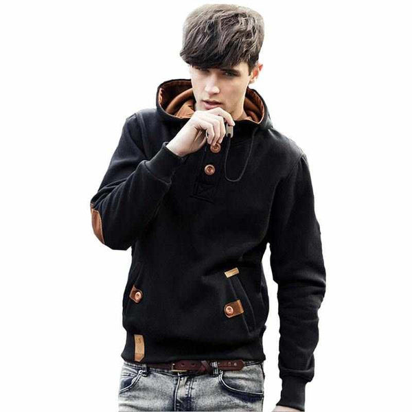 Men Buttons Casual Hoodie Multicolor Pullover Contrast Fashion High Quality