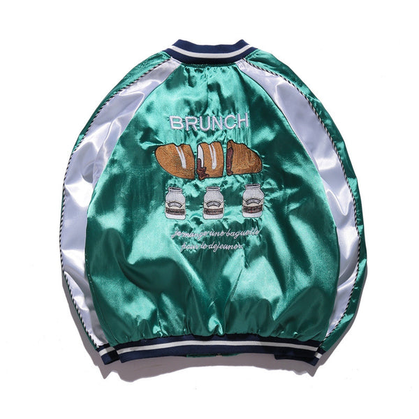 Men Bomber Embroidery Souvenir Jacket