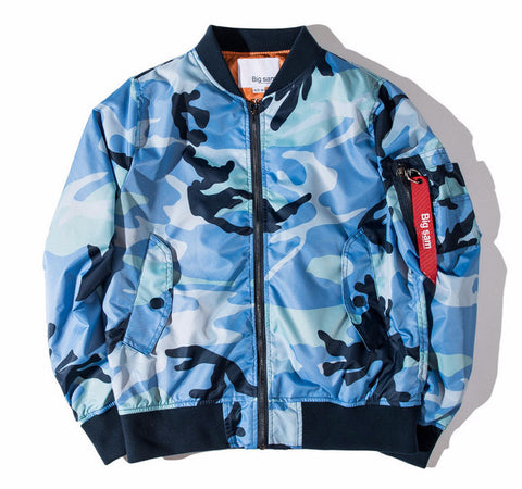 Men Flight Pilot Army Camo Bomber Jacket