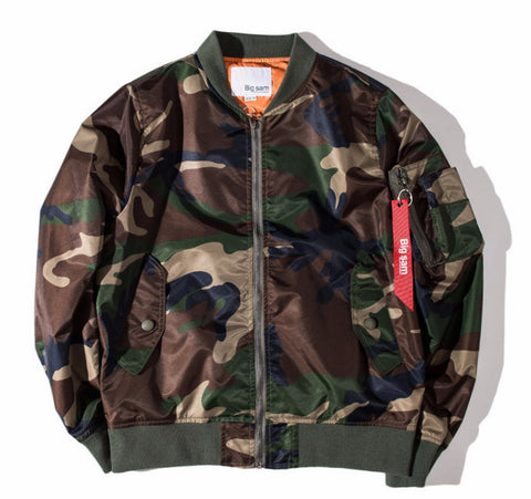 Men Flight Pilot Army Camo Bomber Jacket - God Republic