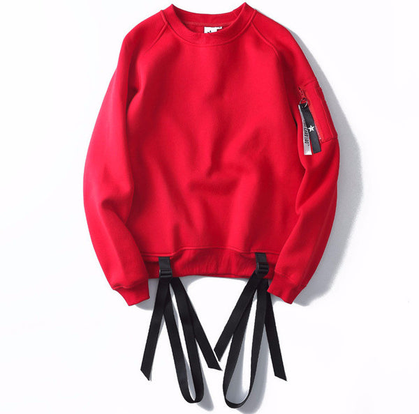 Ribbon Pullover Fleece Hip-Hop Sweatshirt