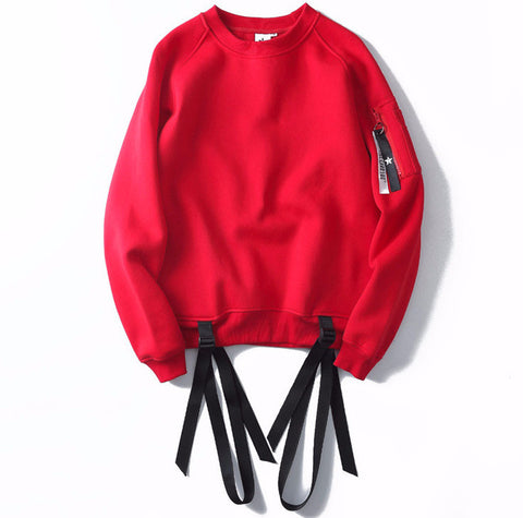 Ribbon Pullover Fleece Hip-Hop Sweatshirt - God Republic