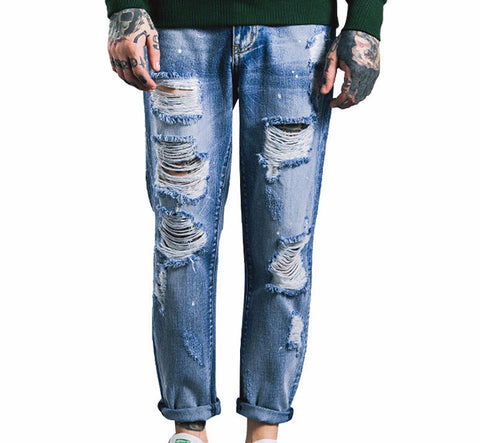 Knee Frayed Biker Ripped Denim Distressed Jeans