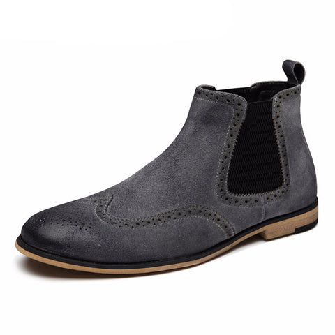 Genuine Suede Brogue Chelsea Boots - God Republic