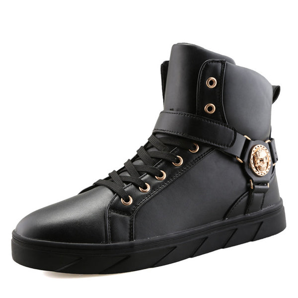 Men High-Top Gold Designer Sneakers
