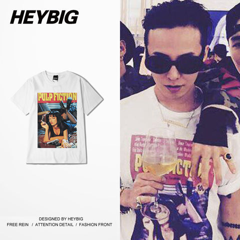Korean GD ins Clothing Pulp Fiction printed Tee shirts HEYBIG Swag Tops American Street Fashion T-shirt Hiphop style China SIZE