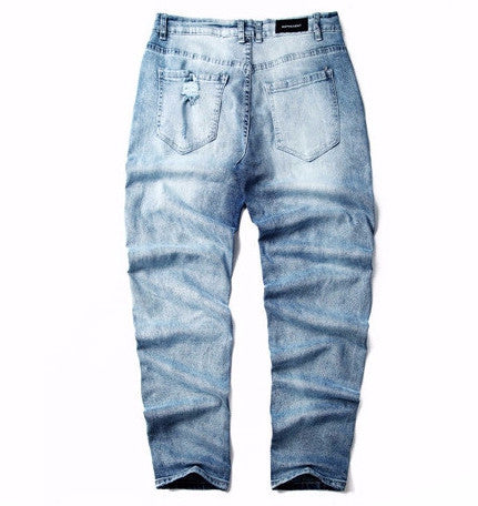 Men Knee Frayed Casual Denim Biker Jeans