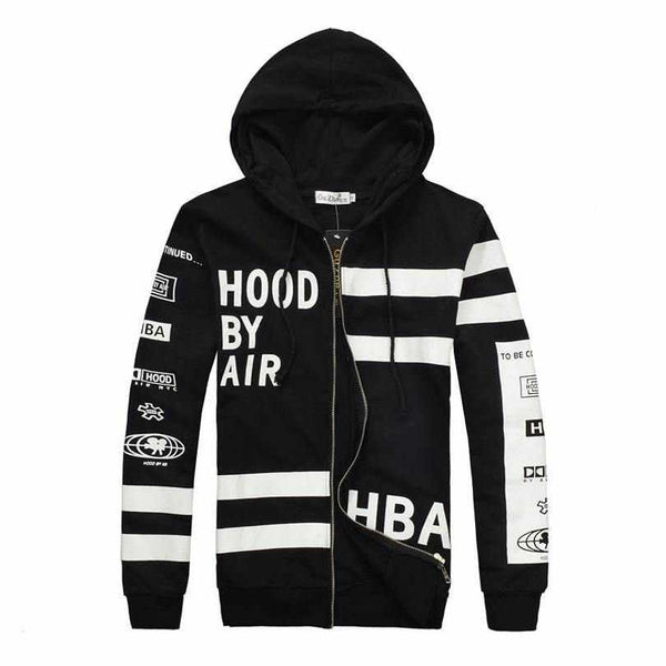 Men HBA HOOD BY AIR Zipper Hooded Hoodie Sweatshirt Streetwear Hip Hop