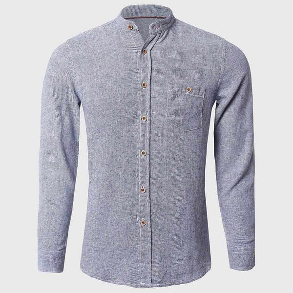 Men Cotton Linen Shirts Plain Long Sleeve Shirts Mandarin Collar Solid Japanese Pattern Breathable Fabric High Quality