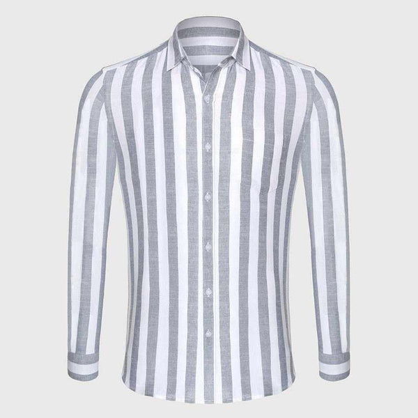 Men Cotton Linen Casual Shirt Striped Shirt Slim Fit Men Shirt Long Sleeve
