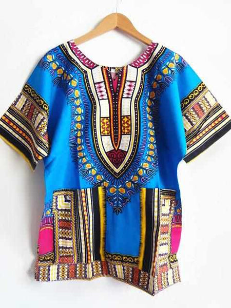 Men design african traditional print 100% cotton Dashiki T-shirt Tee