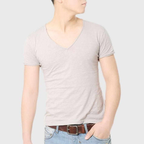 Fashion Deep V Neck T-Shirt For Men Luxury Cotton Slim T Shirt Male Top Tees