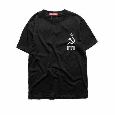 Men Gosha Rubchinskiy flag print skateboards T-shirt Tee