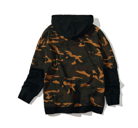 Men Camo Kanye West Hoodie Patchwork   Cool Assassin's Creed Streetwear