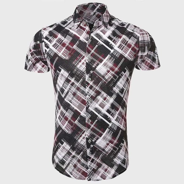 Men Cool Geometric Print Shirts Short Sleeve Slim Shirts Casual Turn Down Collar Paint Pattern Luxury Designer School