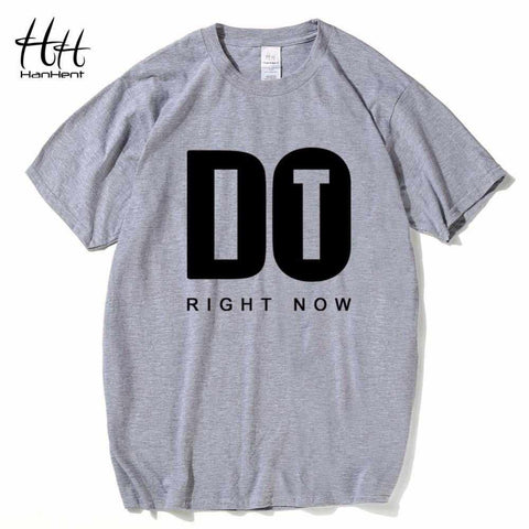 HanHent New Do It Right Now T shirt Men Casual Loose Tee Shirt Letters Logo T-shirts Gray Basic Tops Fitness Tshirt Bodybuilding