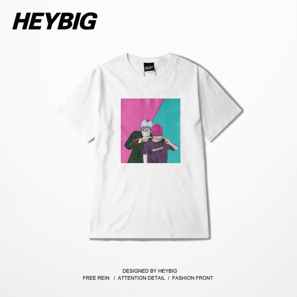 Fun hip hop Men T-shirt 2016 HEYBIG front Printed TEE shirt Soft Cotton Sweat Tops Chinese SIZE THDX