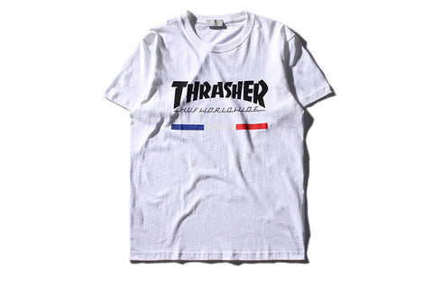 Men Thrasher streetwear hip hop male cotton T-shirt thrasher Skateboard