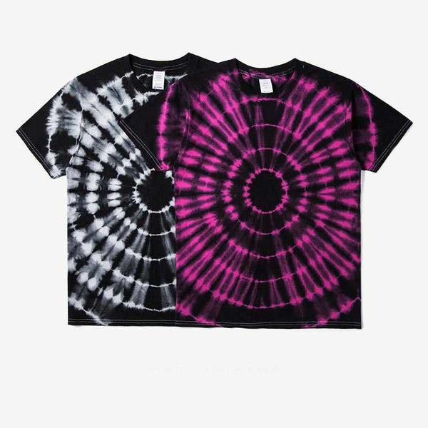 Abstract Art Radioactive Dyeing Men Cotton T-shirt Summer Fashion Casual Hip Hop Black