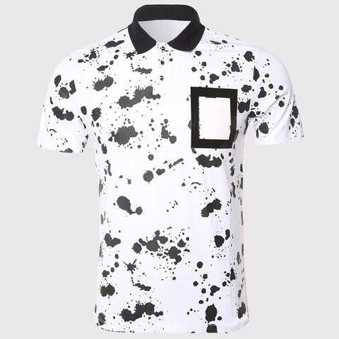 Men Black Dotted Polo Shirts Unique Painted Print Polo Shirt Short Sleeve