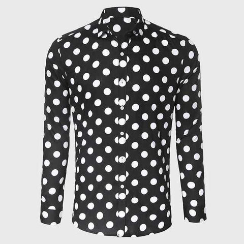 Men Black White Polka Dot Shirt Casual Shirt Male Long Sleeve Slim Fit