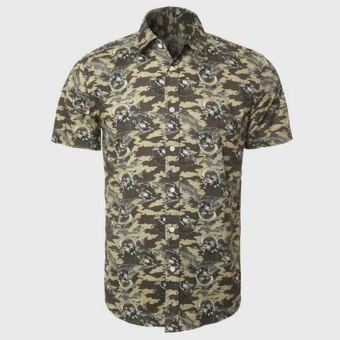 Cotton Fabric For Casual Shirt Men Camouflage Army Short Sleeve Shirts Boys Funny Pattern Wear Military Fashion