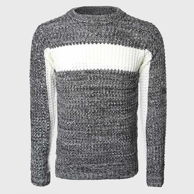 34cbd49ada7b ... Men Thick Patchwork Sweaters Male Cable Knit Pullovers Warmer Color  Block Slim Sweater O Neck Korean ...