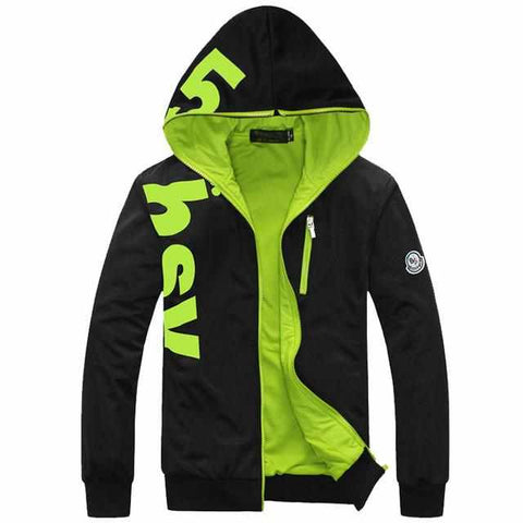 Men Designer Fashion Jacket Zipper Casual Slim Fit Hoodie (Asian Size)